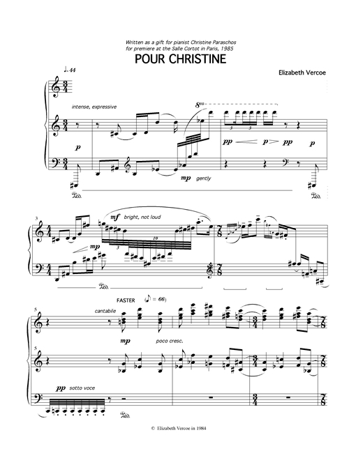 "score for ""Pour Christine"""